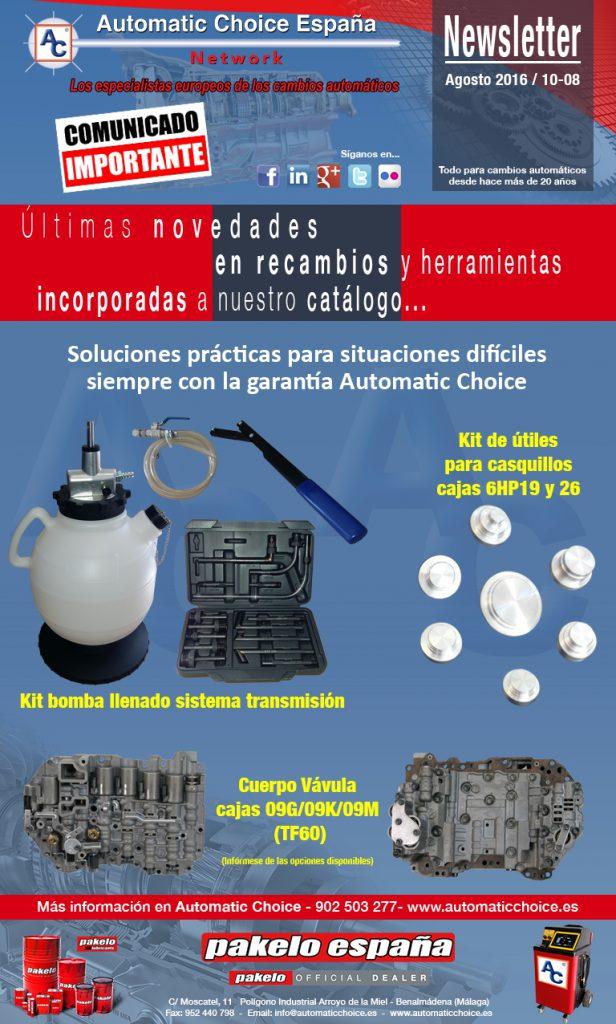 Panfleto kit bomba llenado, utiles 6hp19 26 y cuerpo de valvulas 09g 09k 09m tf60